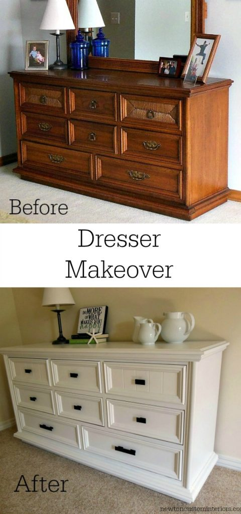 Dresser makeover newton custom interiors - Before and after old dressers makeover with a little paint ...