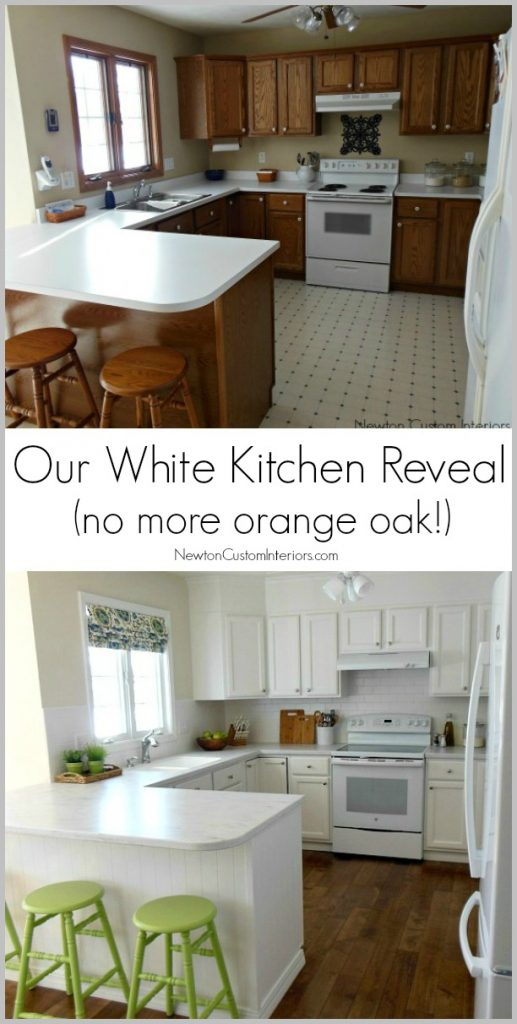 Our White Kitchen Reveal - how we updated our 90's kitchen. Nor more orange oak!