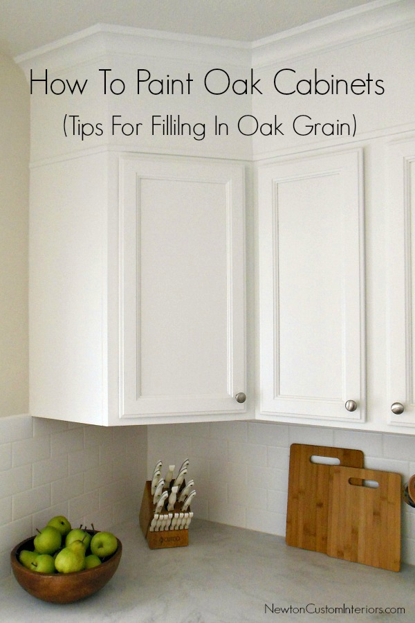 How To Paint Oak Cabinets from NewtonCustomInteriors.com. Great tips for filling in oak grain.