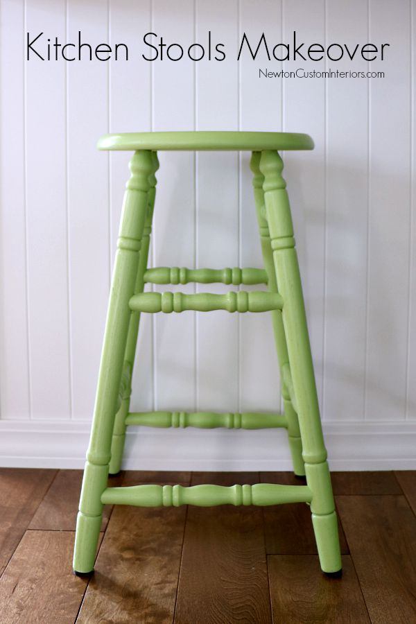 Kitchen Stools Makeover from NewtonCustomInteriors.com See what a little paint can do for some orange oak kitchen stools!