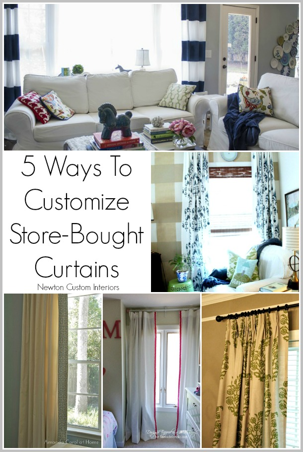 5 Ways To Customize Store-Bought Curtains from NewtonCustomInteriors.com 5 great ways to dress up your ho-hum store-bought curtains!