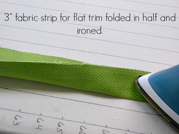 Fabric strip ironed in half