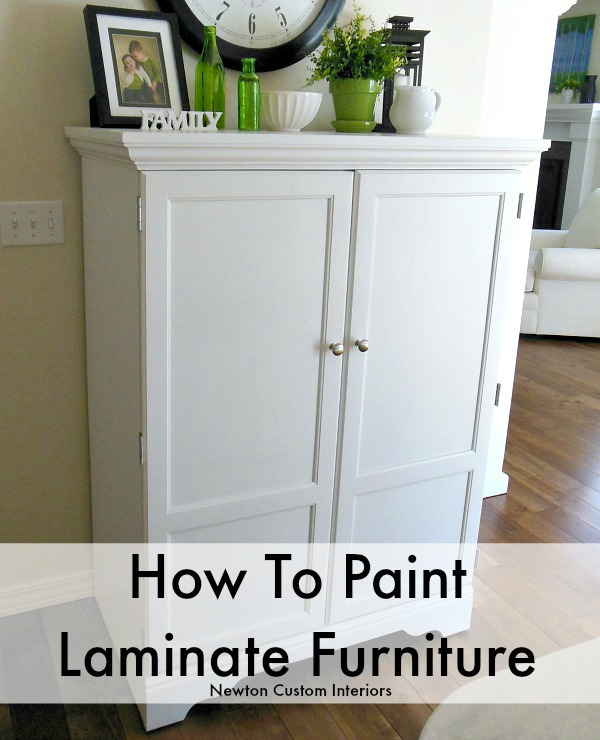 How to paint laminate furniture newton custom interiors for Can you paint non wood kitchen cabinets