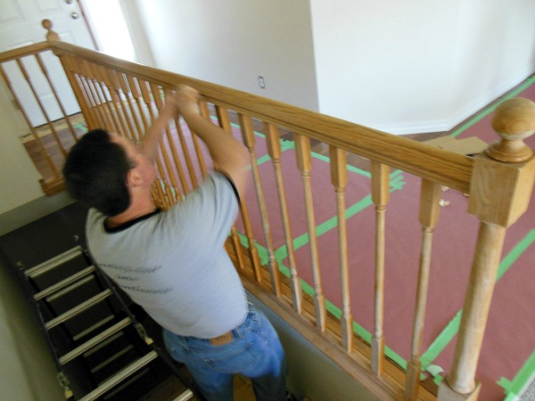 sanding railing during renovation