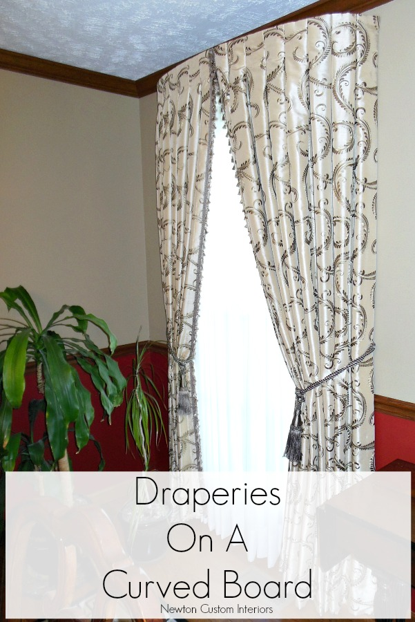 Draperies On A Curved Board - A unique way to hang drapery panels on a curved board instead of drapery poles.