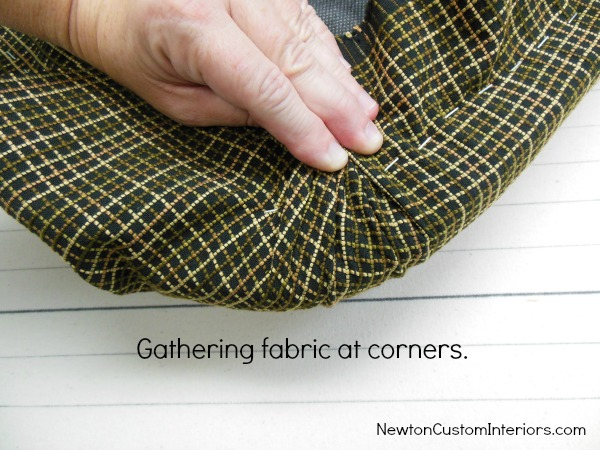 gathering fabric at corners
