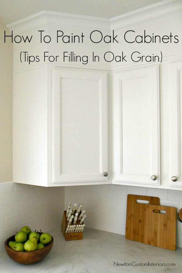 How to paint oak cabinets tips for filling in oak grain for What is the best way to paint kitchen cabinets white