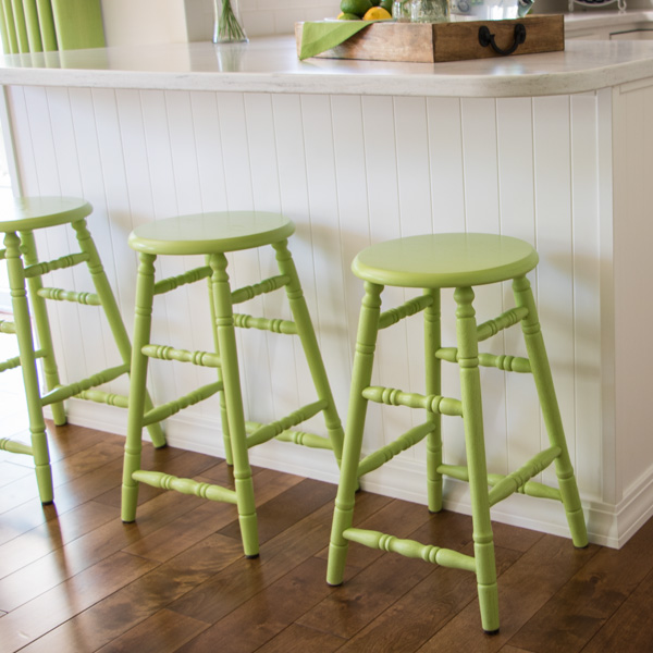 The lacquer paint has held up really well. Weu0027ve been using the painted stools for a few months now and they still look great. & Kitchen Stools Makeover - Newton Custom Interiors islam-shia.org