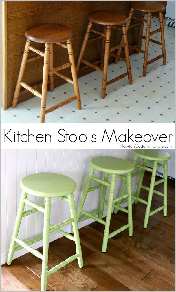 Kitchen Stools Makeover from NewtonCustomInteriors.com Our old orange oak kitchen stools get a refreshing makeover with paint!
