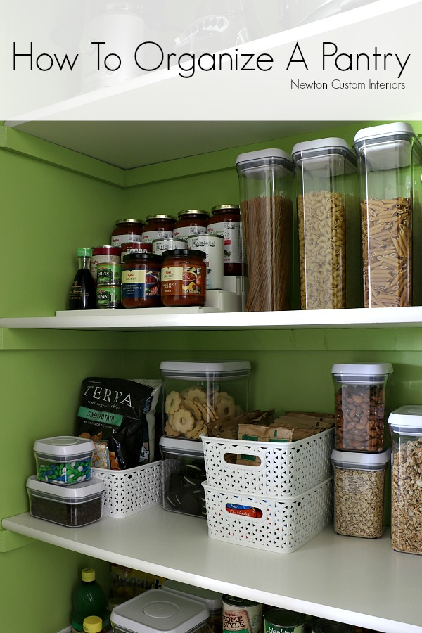 How To Organize A Pantry from NewtonCustomInteriors.com Great tips for how to organize a pantry so that you know where everything is at a glance!