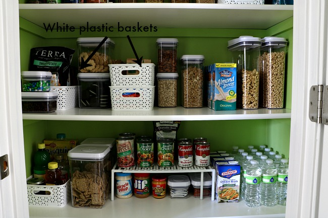 How To Organize A Pantry - White Baskets