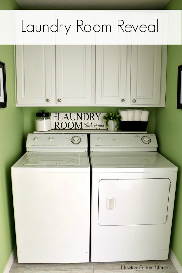 Laudry Room Reveal from NewtonCustomInteriors.com We updated our laundry room with paint, functional storage and a fun new paint color!