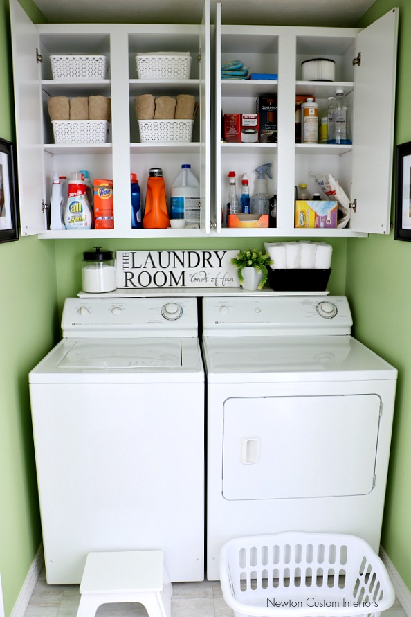 Organizing A Small Laundry Room -With Cabinet Shelves Storage