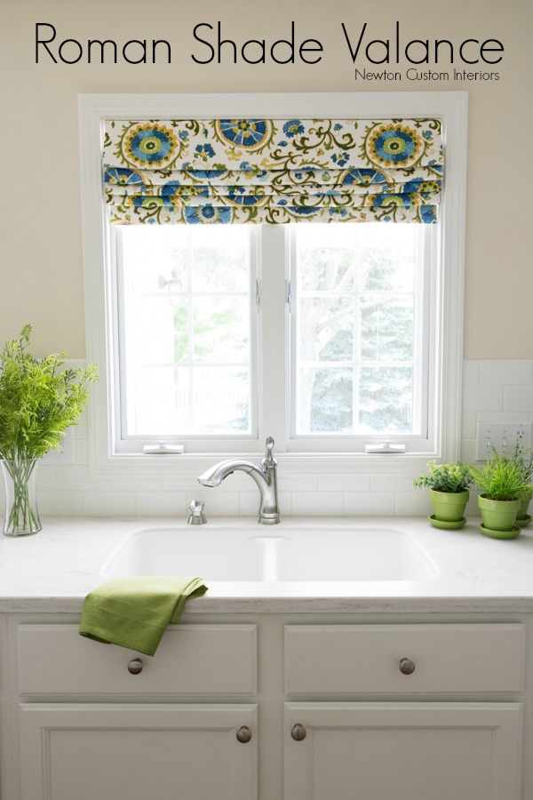 Colorful Roman Shade Valance For A White Kitchen