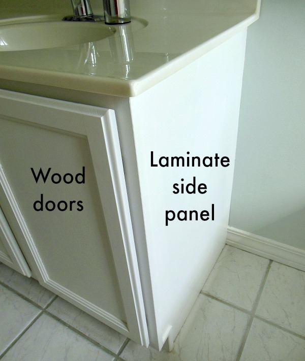 Laminate side of bathroom cabinet