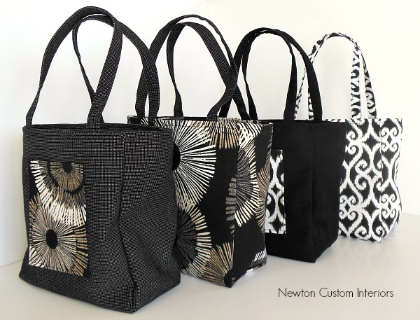 Tote bags in different fabrics