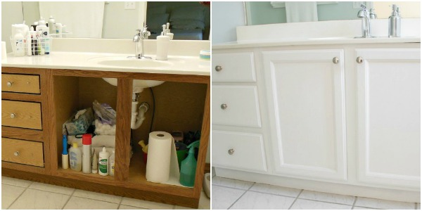 master bath before and after the hall bathroom cabinets