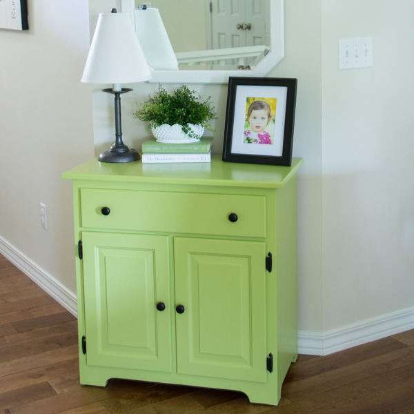 Front entry green cabinet