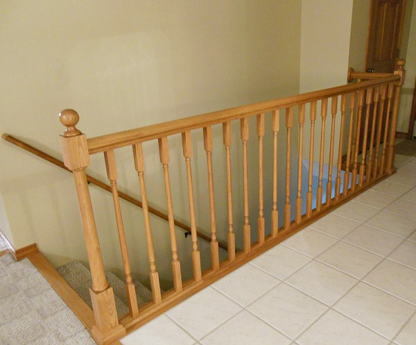 Stair railing before painting.