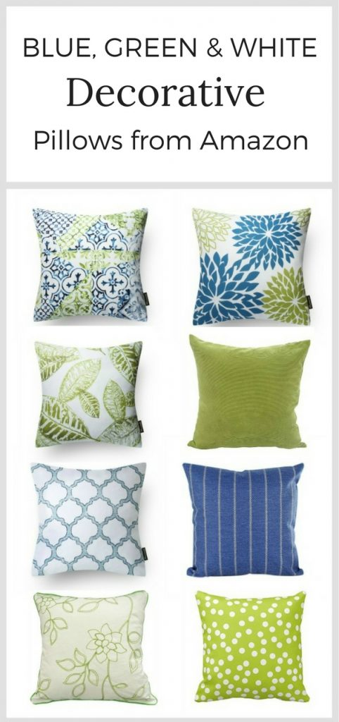 Blue, green & white decorative pillows from Amazon.