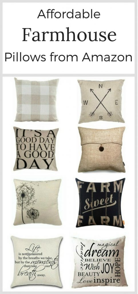 Affordable farmhouse pillows from Amazon.