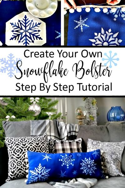 Hand-Painted Snowflake Bolster Pillow Tutorial