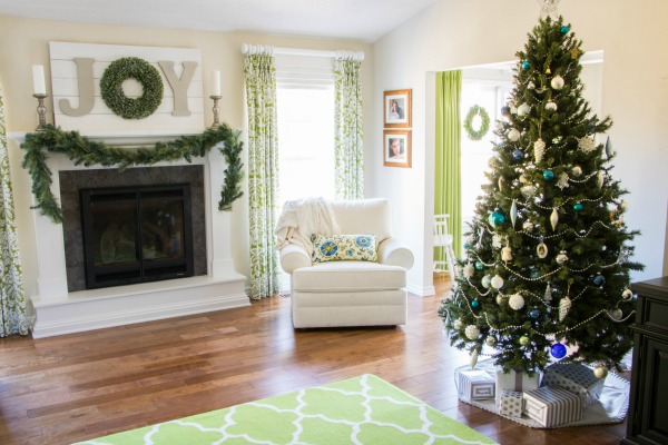 Christmas home tour - living room decorated.