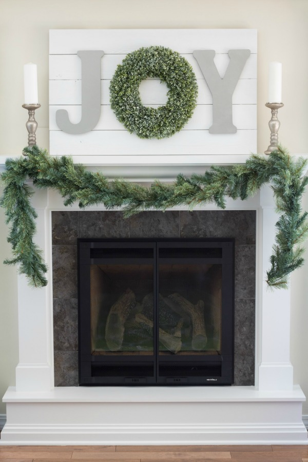 Christmas home tour - fireplace decorated.