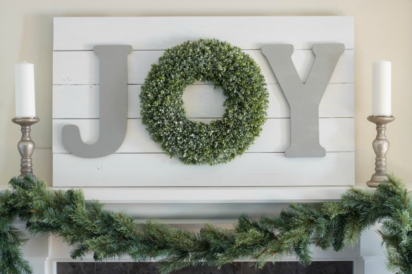 Christmas home tour - JOY sign.