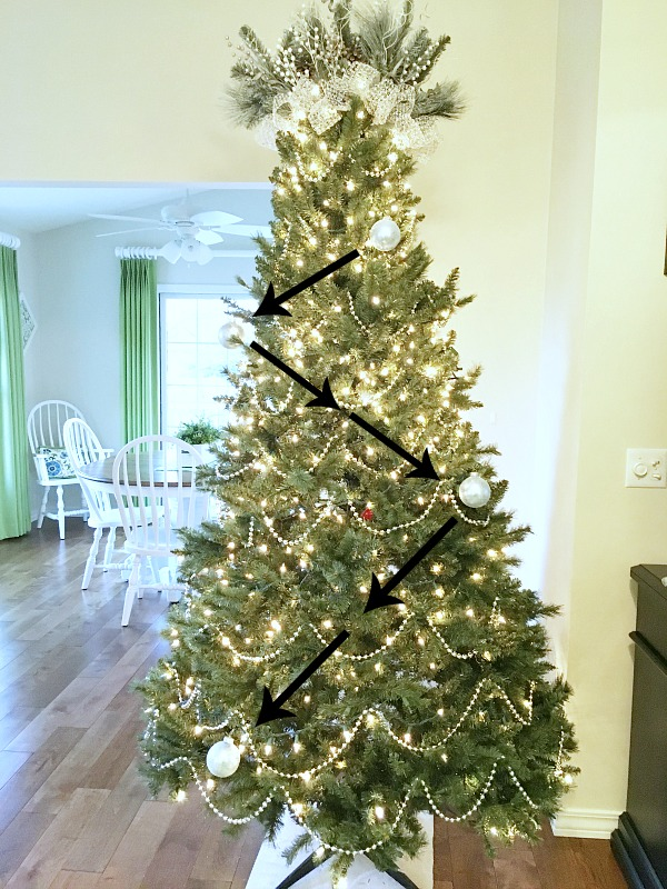 How To Decorate A Christmas Tree - placing ornaments in a zig-zag pattern.