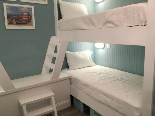Coastal decor style bunk beds.