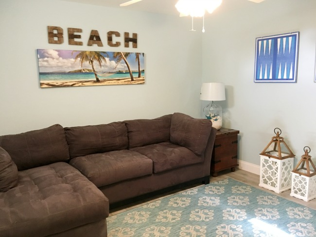 Family room done in coastal decor.