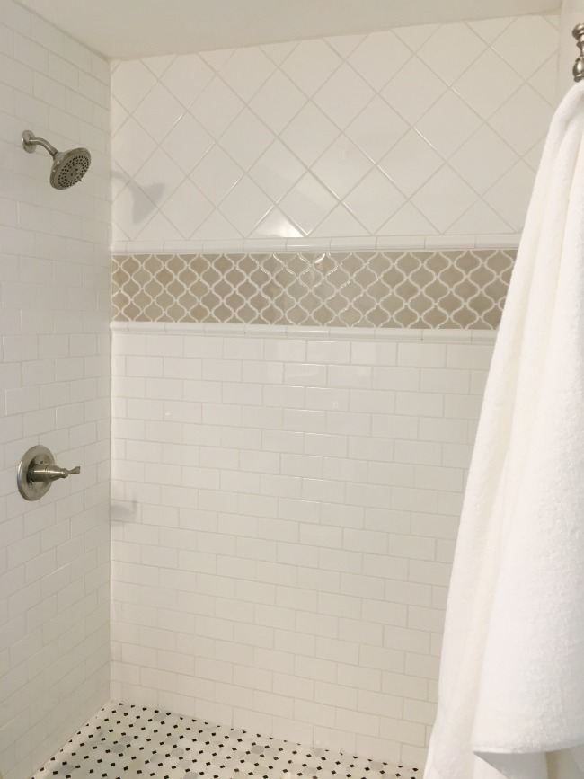 Master bathroom shower tile.