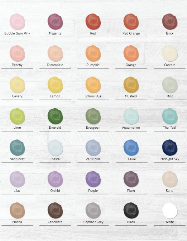 Chalk paste colors from Chalk Couture