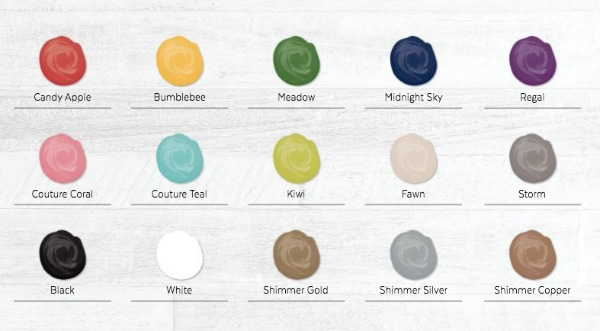 Chalk Couture's new fabric ink colors.