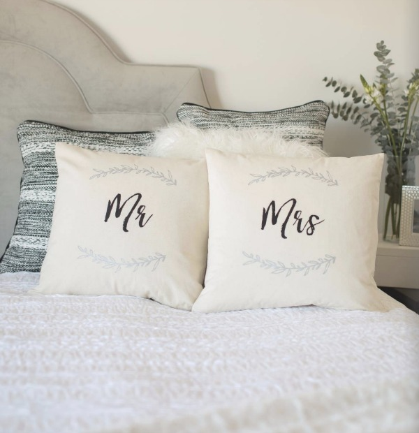 Chalk Couture pillows made with canvas covers and fabric ink.