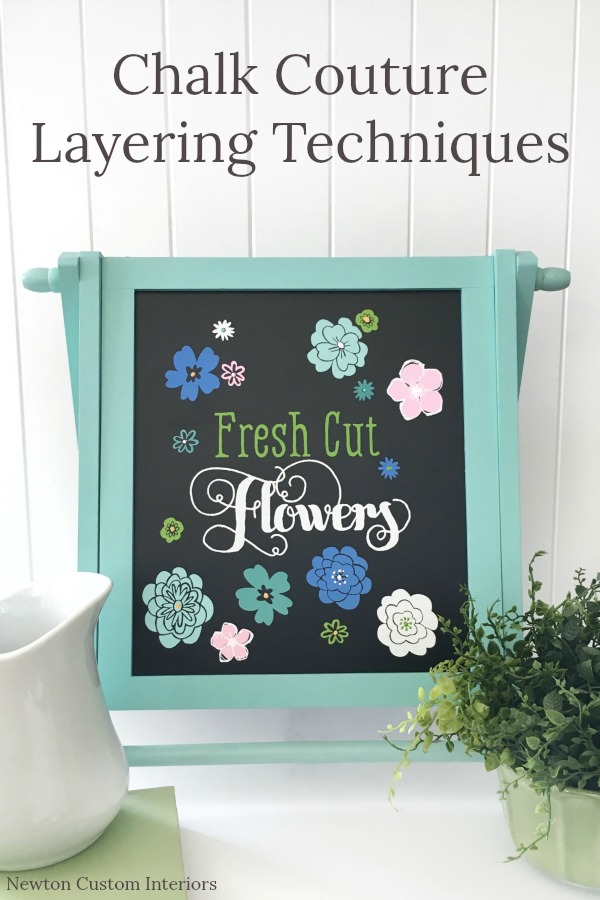 Learn how to do two Chalk Couture layering techniques to add more dimension to your chalkboard projects! Chalk Couture is the fast and easy way to make wall art and other DIY projects for your home!