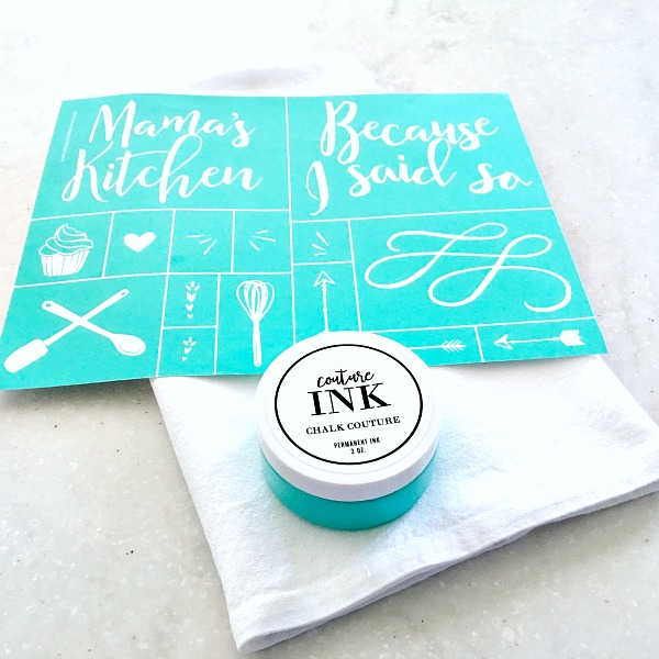 Chalk Couture Mama's Kitchen transfer and Couture Ink in color Teal.