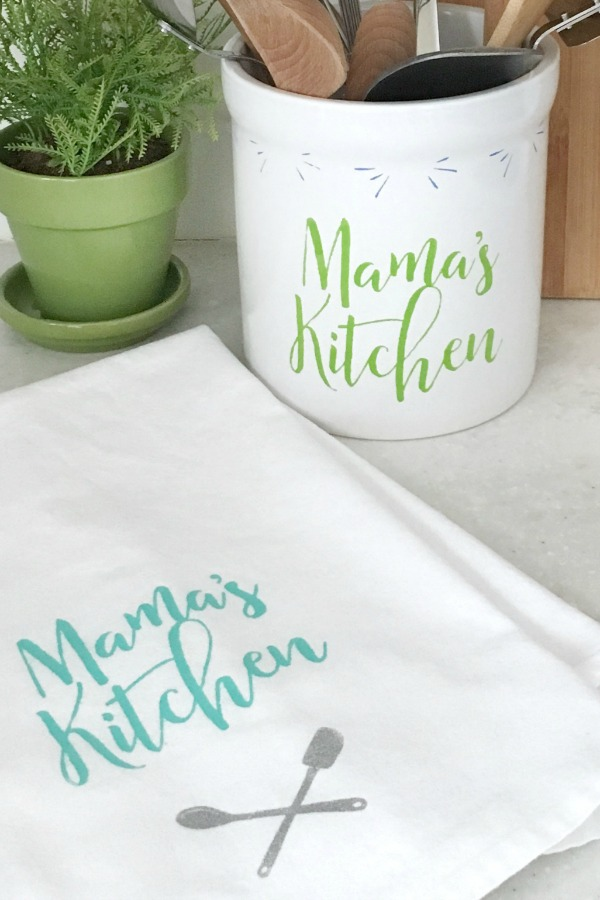 The Chalk Couture Mama's Kitchen transfer used to create a crock and tea towel.