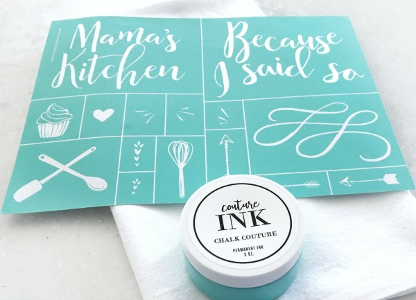 Chalk Couture Mama's Kitchen transfer and Chalk Couture Ink in the color Teal.