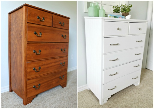 Stained dresser before and painted dresser after.