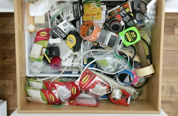 Junk drawer before orgainization